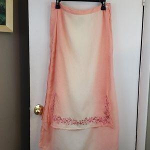 24 Karat peach ombre skirt, maxi